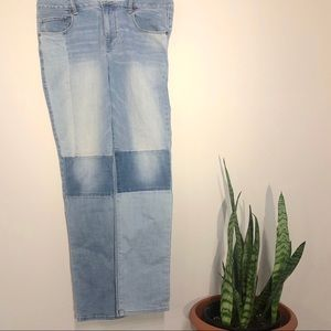 Color block denim jeans